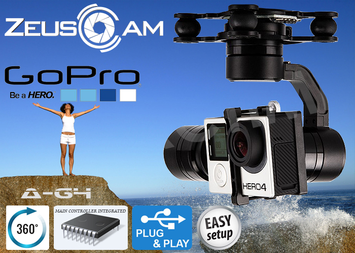 ZeusCam A-G4 GoPro2/3/4 Brushless Gimbal 360 degree with AV Outp
